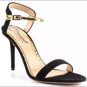 Charlotte Olympia Black Gold Ankle Buckle Heel 7